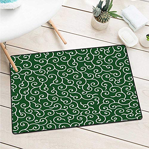 Custom&blanket Green Inlet Outdoor Door Mat Traditional Ancient Japanese Pattern with Abstract Curly Branches and Leaves Asian Door Mat Floor Decoration (W29.5 X L39.4 inch,Emerald White)