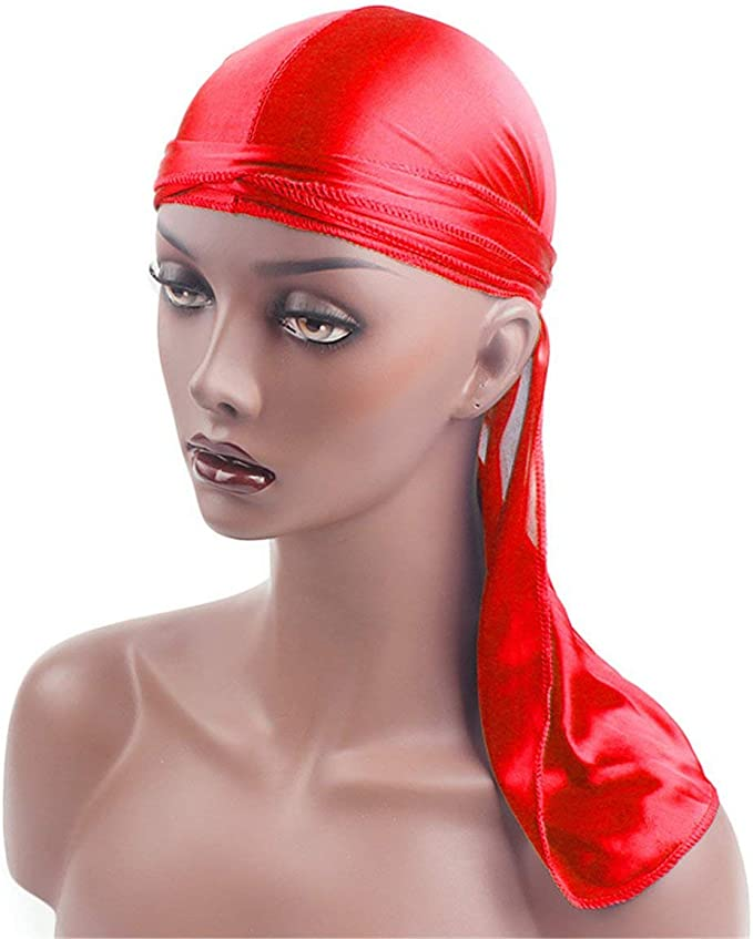 camellia Hommes Femmes Soie Respirant Satin Soyeux Bonnet Durag 360 Wave Cool Bandana Turban Rouge