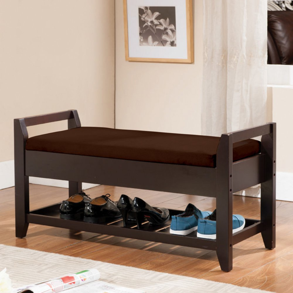 Amazon.com: Ku0026amp;B Furniture Solid Wood Storage Bench   Espresso /:  Kitchen U0026 Dining