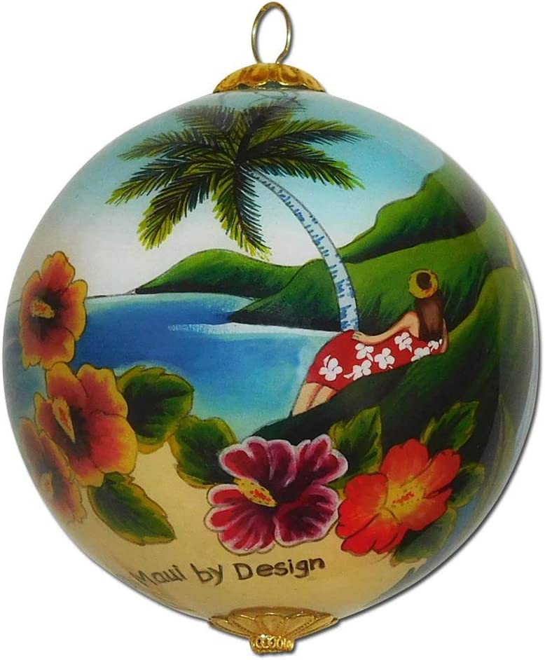 Maui by Design Scenic Hawaiian Ornament Collectible Hand-Painted Glass with Gift Box OTH/H