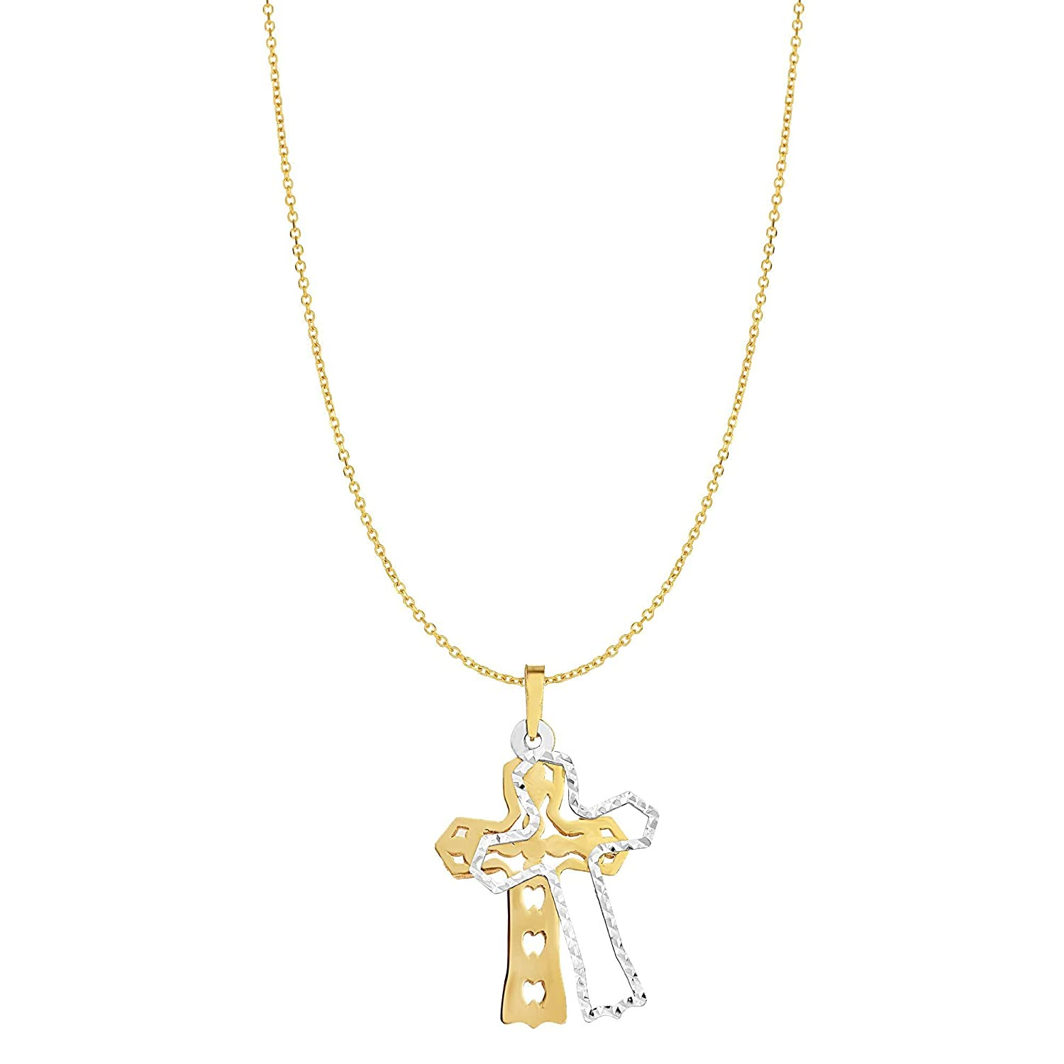 BH 5 Star Jewelry 14kt Gold Yellow+White Finish Shiny+Diamond Cut Fancy Double Disc Cross Pendant on 14kt Gold 18 Yellow Finish 0.8mm Diamond Cut Oval Classic Cable Chain with Lobster Clasp