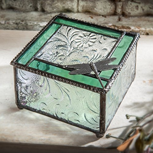 Glass Treasure Box - J Devlin Box 141 Green Glass Trim and Dragonfly Embellished Keepsake Trinket Box