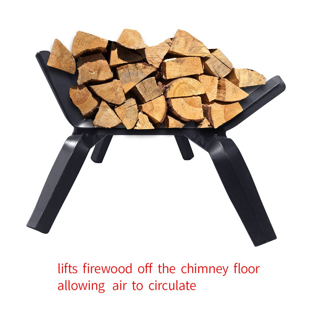 amazon com black wrought iron fireplace log grate 22 inch wide