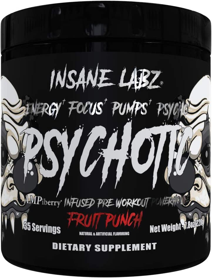 Insane Labz Psychotic Black Edition Mid Stimulant Pre Workout Powder, Energy Focus Pumps, Loaded with Creatine Beta Alanine Taurine Fueled by AMPiberry, 35 Servings Fruit Punch