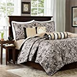 Madison Park Aubrey King/Cal King Size Quilt Bedding Set - Black, Champagne, Paisley Jacquard – 6 Piece Bedding Quilt Coverlets – Ultra Soft Microfiber Bed Quilts Quilted Coverlet