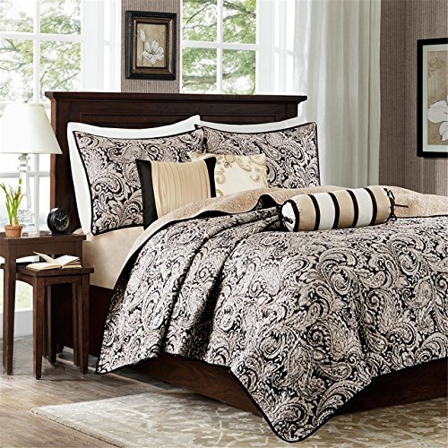 Madison Park Aubrey 6 Piece Quilted Coverlet Set, Black, Cal King, King King]()