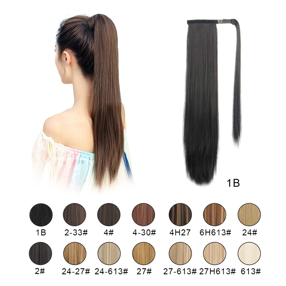 BARSDAR 26'' Long Straight Wrap Around Synthetic Ponytail Clip in Hair Extensions One Piece Hairpiece Binding Pony Tail Extension for Women Lady Girl (1B# Off Black)
