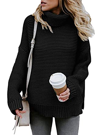 f8d42d2d34 Poplover Womens Turtleneck Long Sleeve Knitwear Chunky Knit Sweater Jumpers  Pullover Tops  Amazon.co.uk  Clothing
