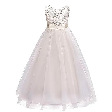 8cc3b96589 IWEMEK Kids Girls Lace Tulle Wedding Bridesmaid Communion Party Bowknot  Dress Formal Pageant Birthday Prom Dance Ball Gown Maxi Flower Dress 4-14  ...