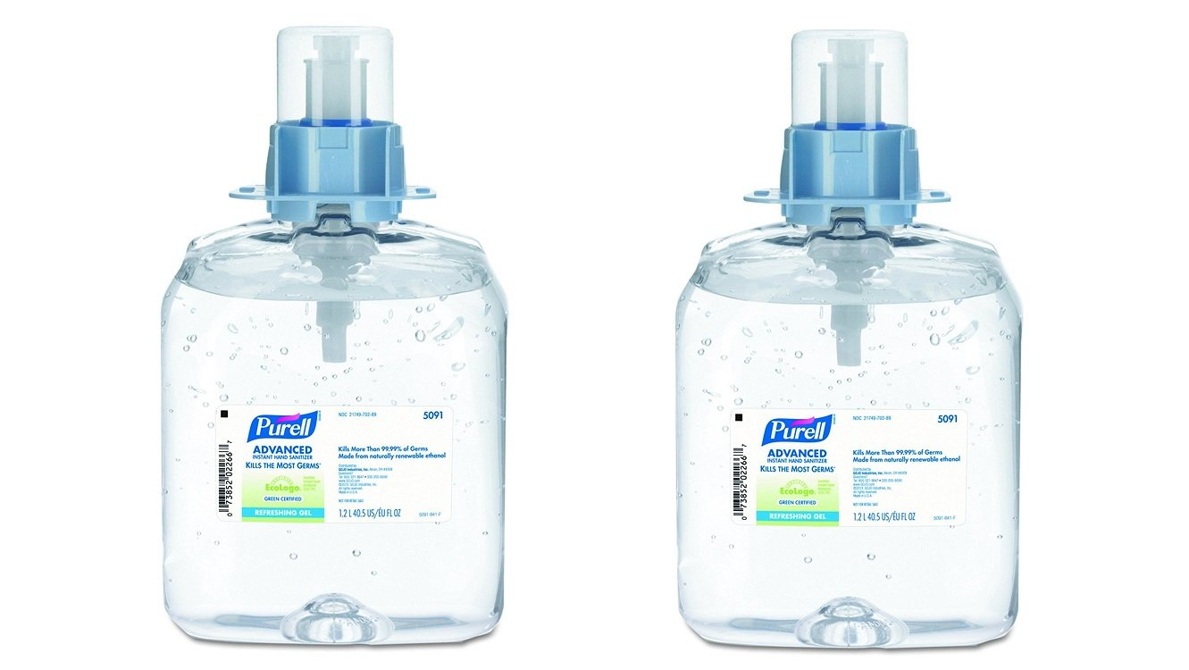 PURELL 509103 Advanced Green Certified Instant Hand Sanitizer Gel 1200mL Fragrance-Free (2 X Pack of 3)