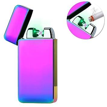 Kivors Encendedor Electronico, USB Mechero Electronico Recargable de Doble Arco Pulsado Cruz Sin Llama Resistente Al Viento (Púrpura)