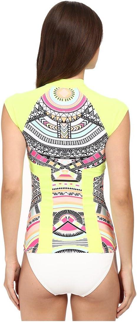 Rip Curl Womens Tribal Myth Short Sleeve Printed Rashguard Rip Curl Juniors Swimwear WLUGF1