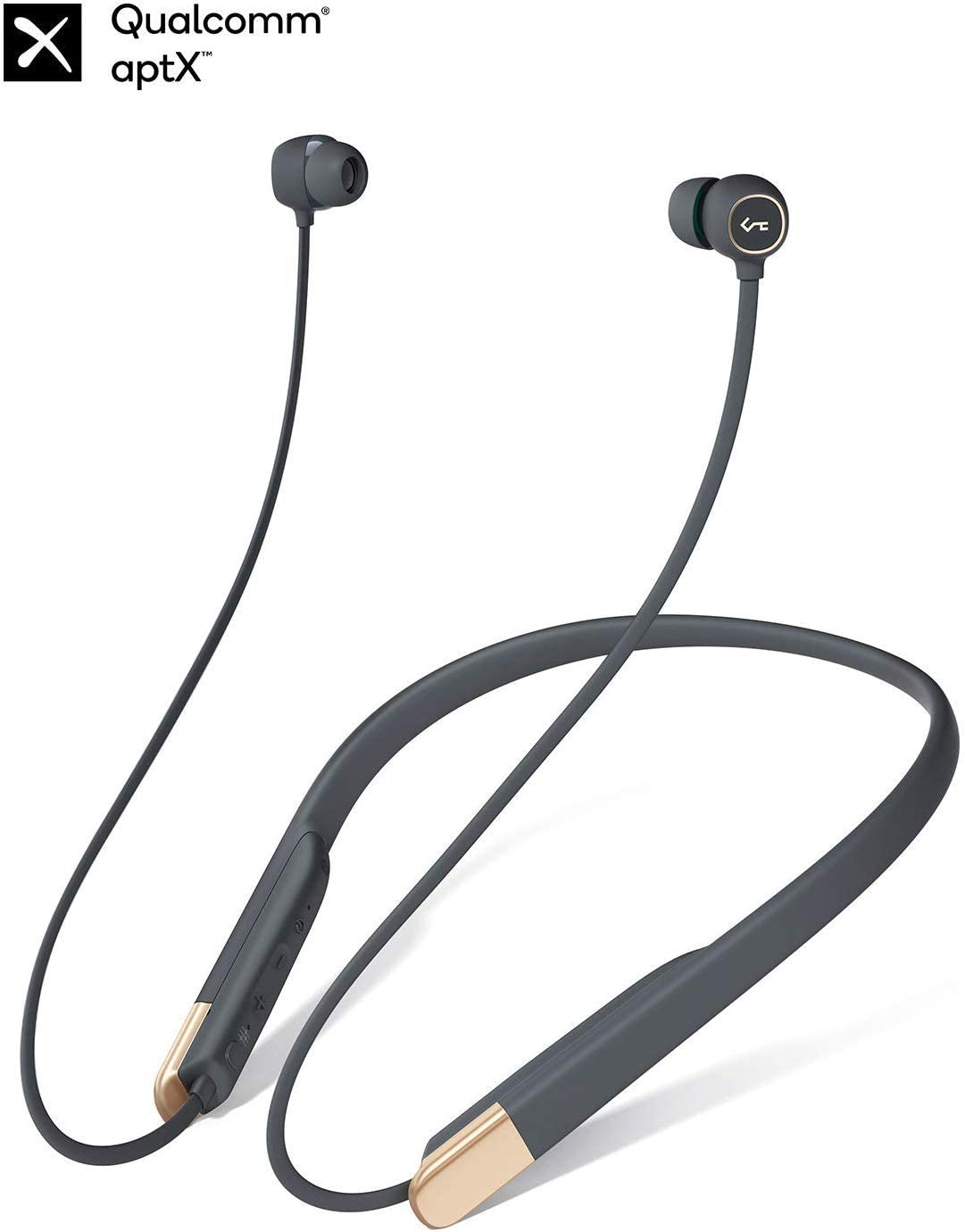 Bluetooth Headphones, AUKEY Key Series Wireless Earbuds Bluetooth 5.0 aptX Neckband Headset, in-Ear Sport Headphones with Built-in Mic, Magnetic Play Pause, 8H Playtime, 3 EQ Modes, IPX6 Sweatproof