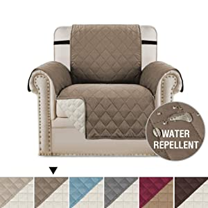 "H.VERSAILTEX Premium Reversible Chair Slipcover Couch Covers for Dogs, Chair Cover Quilted Furniture Protector with 2"" Elastic Straps, Microfiber Slip Cover Throw for Pets, Kids (Chair: Taupe/Beige)"