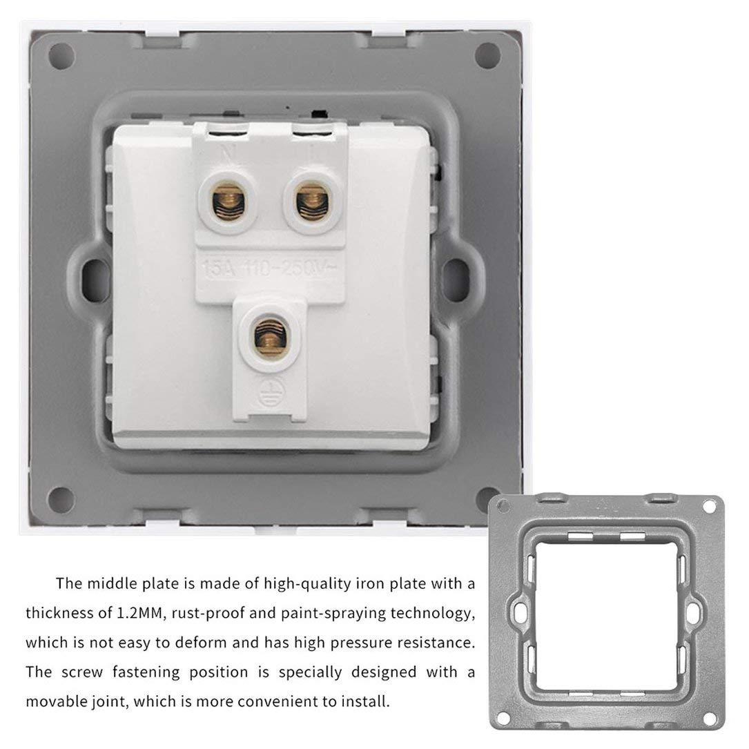 Panel de enchufes americano Enchufe de interruptor de alimentaci/ón est/ándar estadounidense Enchufe de tres orificios (blanco)