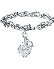 M MOOHAM Elephant Gifts Charm Bracelets for Women, Stainless Steel Heart Charm Initial Bracelet 26 Letters Alphabet Elephant Charm Bracelet for Women Teen Girls