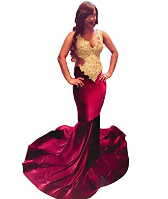 YUHEYUHE showlife showlife Women Long Velvet African Prom Dress Burgundy Mermaid Prom Dress Evening Dresses (