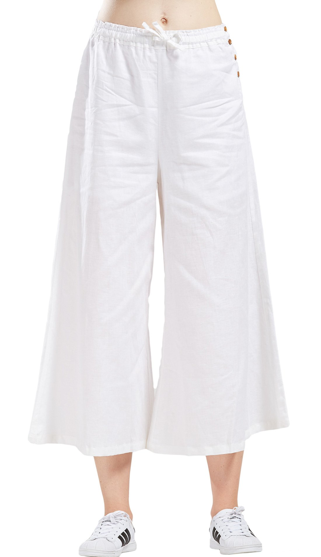 utcoco Women's Summer Elastic Waist Loose Fit Cropped Plazzo Linen Beach Pants (X-Large, White)