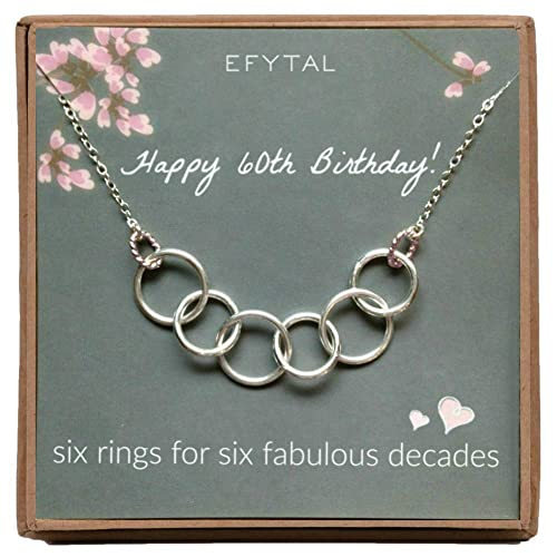 EFYTAL Happy 60th Birthday Gifts Women Necklace Sterling Silver 6 Rings Six Decades Necklaces Gift