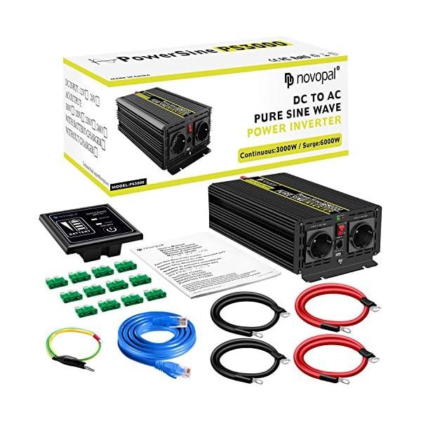 61rePUu8oRL 3000W KFZ Reiner Sinus Spannungswandler - Auto Wechselrichter 12v auf 230v Umwandler - Inverter Konverter mit 2 EU…