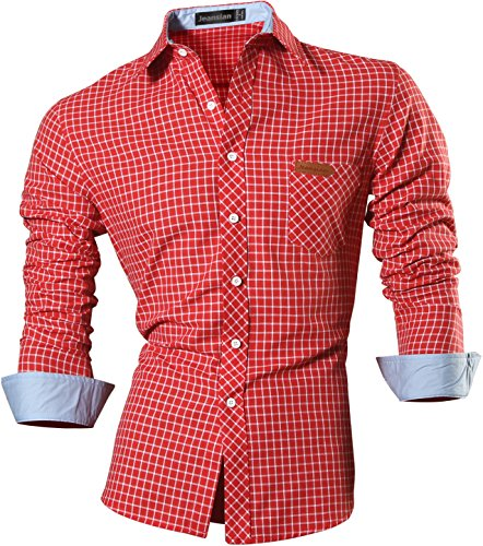 jeansian Men's Long Sleeves Slim Dress Shirt 8615 Red XL