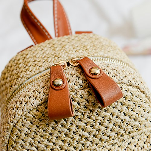 Summer Mini Straw Dabixx Beach Bag Black Backpack Girls Hollow Fashion Black Women Casual Weave qUaUwxBE