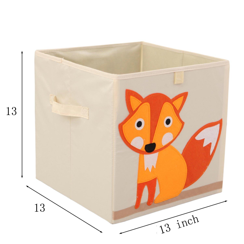 Murtoo Storage Bins Foldable Cube Box, Fabric Toy Storage Cubes For Kids, 13u0027u0027  L, Fox