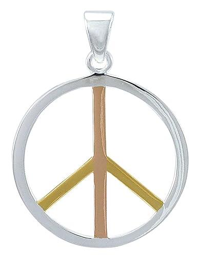 d552668b5ec8 Alterras - Anhänger  Peace Zeichen vergoldet aus 925-Silber  Amazon ...