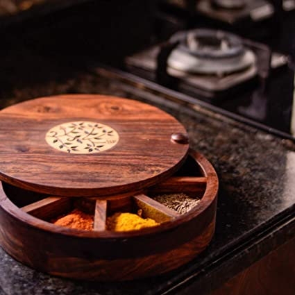 d827fadb3df1 ExclusiveLane Spice Box with Floral Burnt Design in Sheeham Wood -Spice  Rack Jars Holders & Masala Container