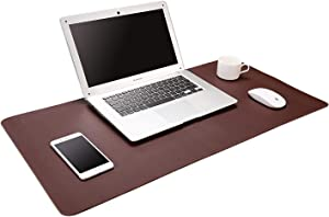 """ACSTEP Office Desk Pad, 31.5""""x15.7"""" Ultrathin Desk Pad Protector Waterproof PU Leather Desk Blotter Pad Desk Writing Mat Dark Brown for Office,Home"""