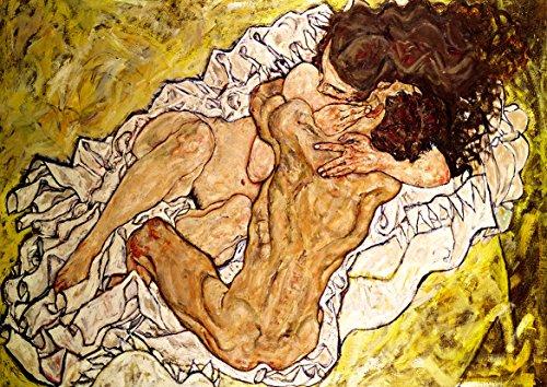 Egon Schiele: The Embrace. Fine Art Landscape Print/Poster. Size A2