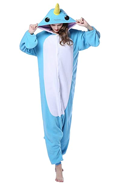 Apiidoo Halloween Christmas Adult Animal Pajama One Piece Cosplay Onesie  Costume Blue Narwhal S aec4b8e12