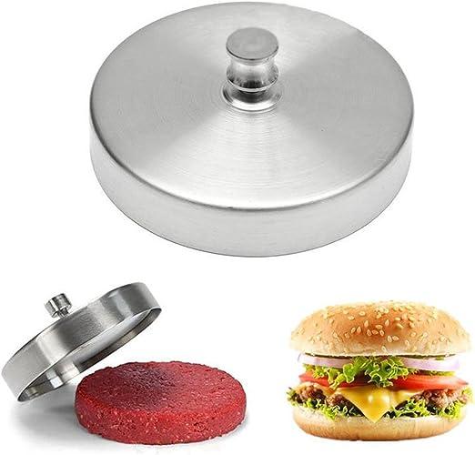 New BBQ Hamburger Patty Maker Grill Press Large Round  Metal Mold Kitchen