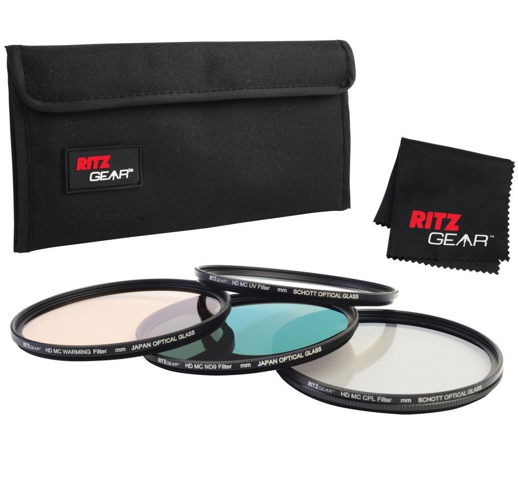 Ritz Gear™ 72mm Premium HD MC Super Slim Lens Filter Set (UV, CPL, ND9, Warming) With SCHOTT OPTICAL GLASS RitzGear RG-FIL472