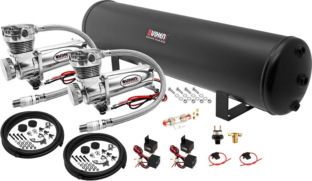 Vixen Air Suspension Kit for Truck/Car Bag/Air Ride/Spring. On Board System- Dual 200psi Compressor, 5 Gallon Tank. for Boat Lift,Towing,Lowering,Load Leveling,Bags,Onboard Train Horn VXO4852DC by Vixen Air