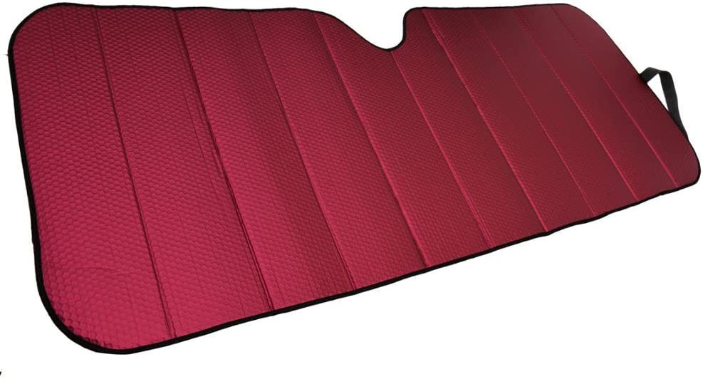 Motor Trend AS-312-RD Red Front Windshield Shade-Jumbo Accordion Folding Auto Sunshade for Car Truck SUV-Blocks UV Rays Sun Visor Protector-Keeps Your Vehicle Cool-66 x 27 Inch