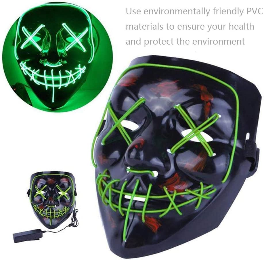 Smiling Stitched EL Wire Light Up Mask for Festival Party Halloween Costume Rave Cosplay TEEPAO Halloween Scary LED Mask 3 Flash Modes