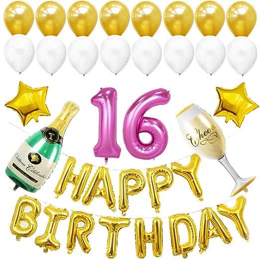 XHJZ-W Globos de cumpleaños número 16 - Globos de cumpleaños ...
