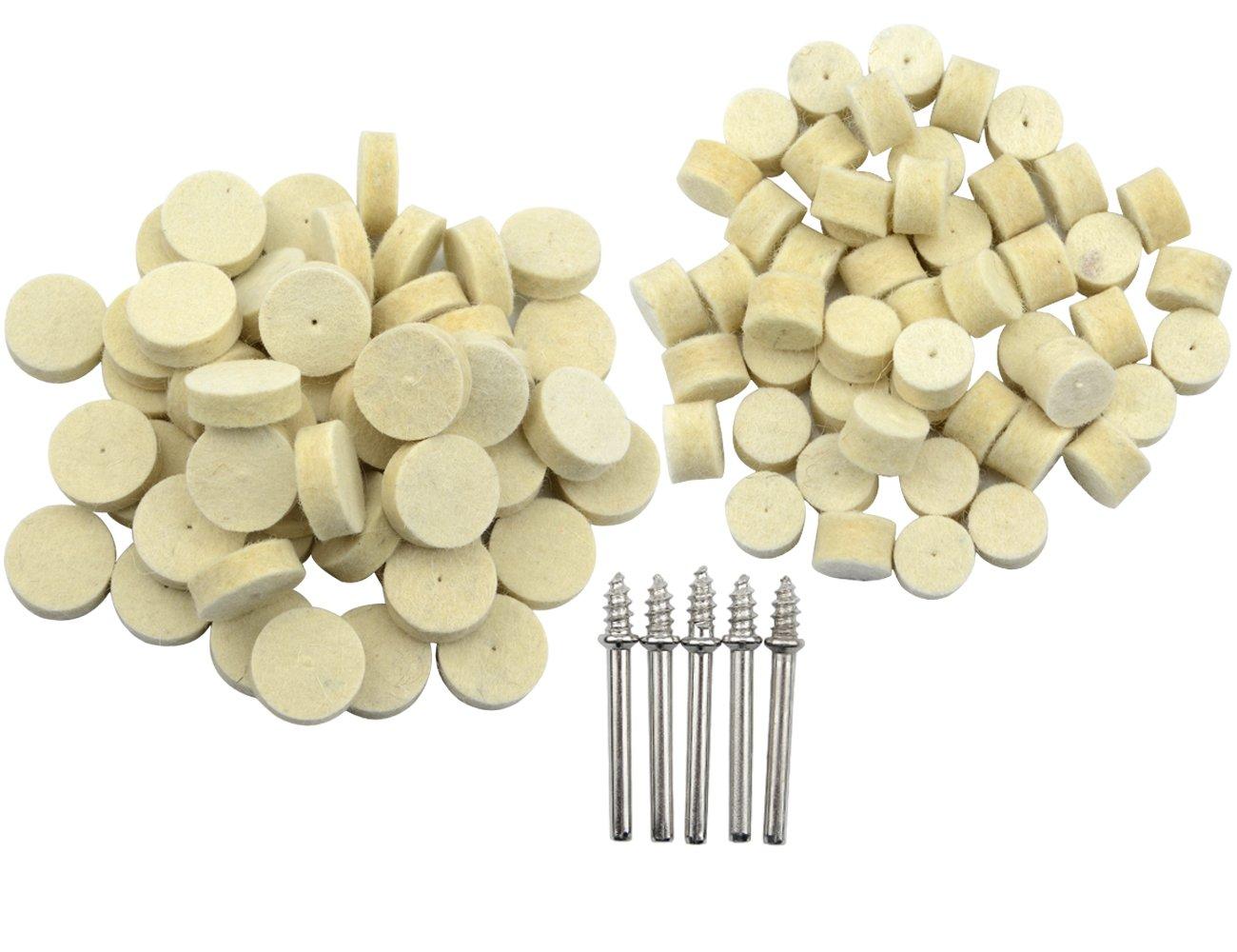 """TOVOT 100pcs Felt Polishing Pad and Mandrel Kit for Dremel Rotary Tools Diameter 3/8"""" and 7/8"""""""