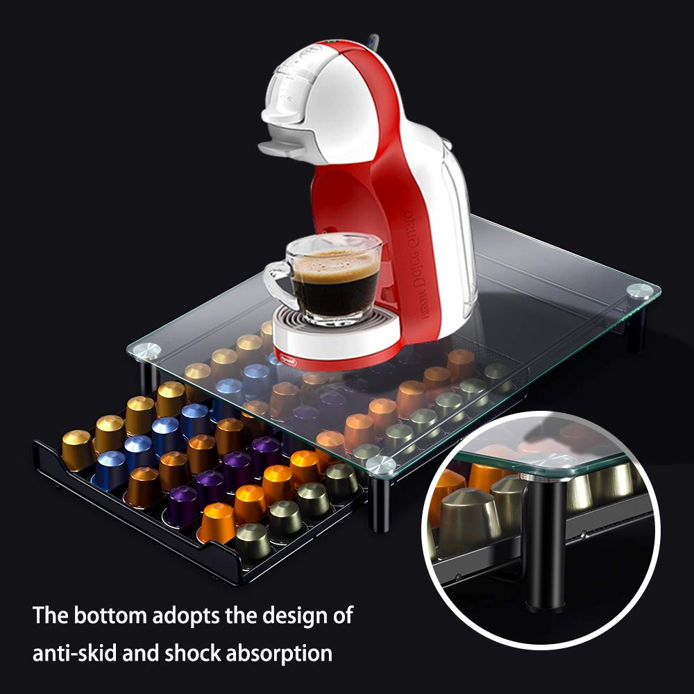 Coffee Capsule Holder with 2PCS Cleaning Rag Coffee Storage Drawer Organizer for Holding 60 Coffee Pod Masthome
