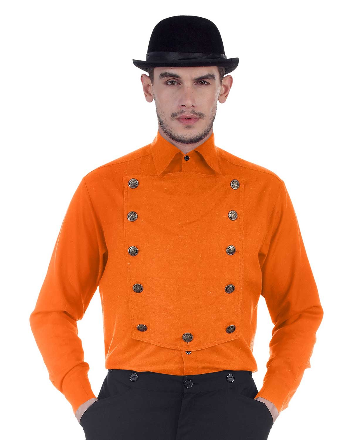 ThePirateDressing Steampunk Victorian Cosplay Costume Mens Linen Airship Shirt C1290 (Orange) (XXX-Large)