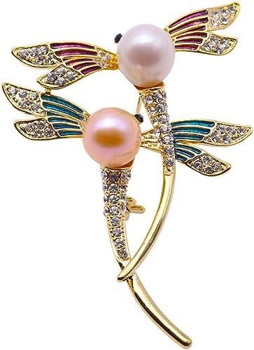 Broche de perlas con perla de agua dulce y libélula para mujer
