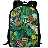 CY-STORE Rainforest And Animals Print Custom Casual School Bag Backpack Travel Daypack Gifts