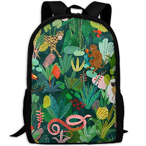 CY-STORE Rainforest And Animals Print Custom Casual School Bag Backpack Travel Daypack Gifts by CY-STORE