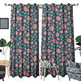 Warm Family Pale Pink Blackout Window Curtain Drops and Round Splash of Bubble Gum on Blue Background in Cartoon Style Customized Curtains W96 x L84 Petrol Blue Coral