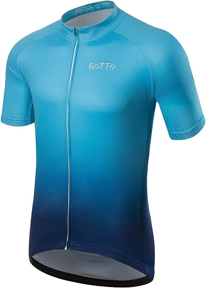 ROTTO Maillot Ciclismo Hombre Camiseta Ciclismo Manga Corta Ropa ...