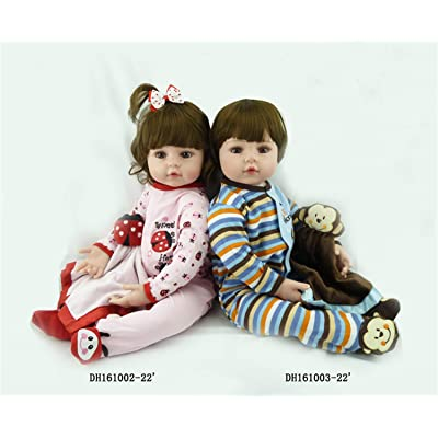 Zero Pam Real Life Reborn Twins Dolls Alive Boy&Girl Soft Dolls 24 inch Reborn Toddler Twins Baby Dolls for Kids Xmas Gifts: Toys & Games
