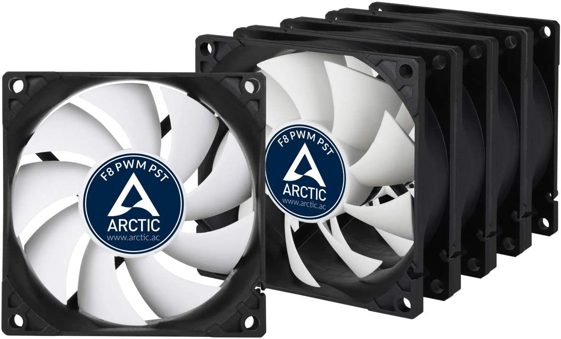 Arctic F8 PWM PST Value Pack (5 Units) - 80 mm PWM PST Case Fan - Five Pack | Silent Cooler with Standard Case | PST-Port (PWM Sharing Technology) | Regulates RPM in Sync