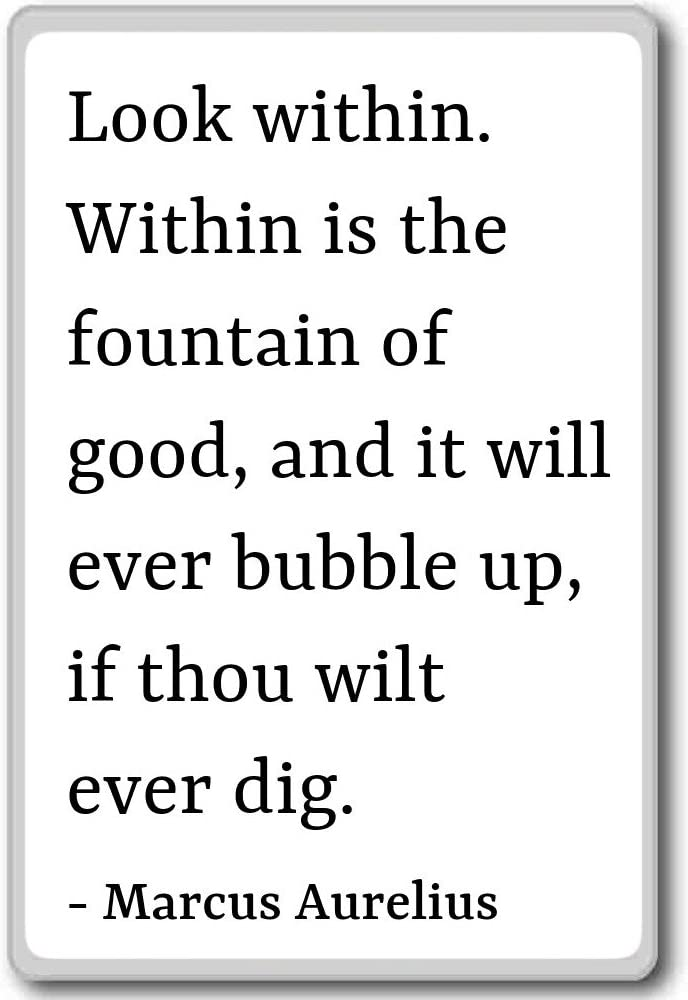 Amazon Com Look Within Within Is The Fountain Of Good Marcus Aurelius Quotes Fridge Magnet White Kitchen Dining