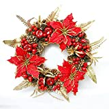 Christmas decorations red fruit Christmas wreath pendant ( Size : 50cm )